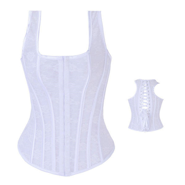 New Style Sexy Floral Lace Halter Corset Vest