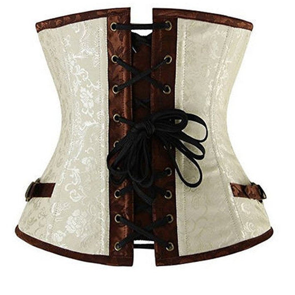 Renaissance Ivory Brown Steel Boned Steampunk Buckles Corset