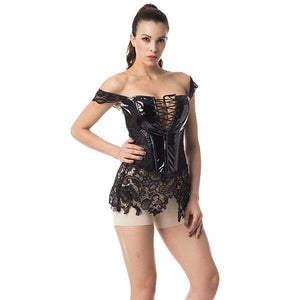 Shiny Leather PVC Corset Bustier with Lace Skirt Plus Size
