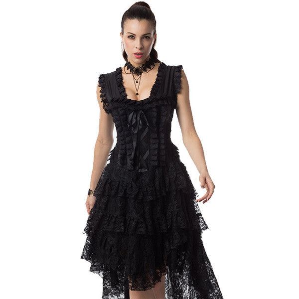 Steampunk Black Straps Victorian Overbust Corset Dress Costume