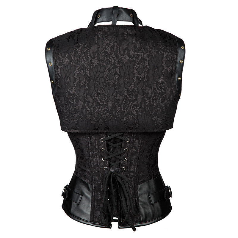 Steampunk Brocade Halter Buckles Underbust Corset with Jacket