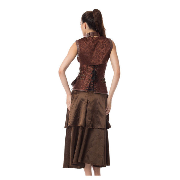 Steampunk Brocade Jacket Corset With Belt Pockets