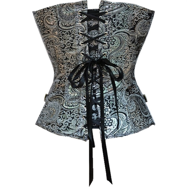Steampunk Retro Goth Silver Body Buckle Up Corset