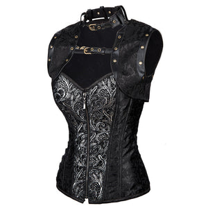 Steampunk Zipper Halter Brocade Overbust Corset with Jacket