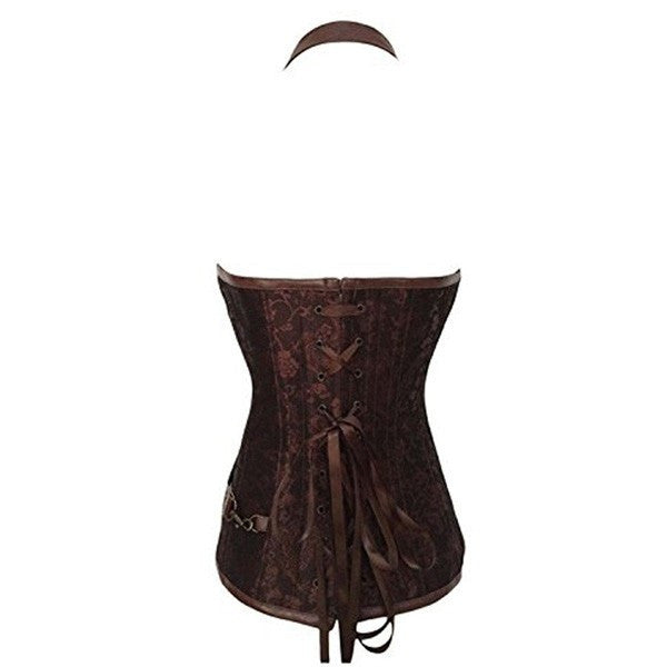 Victorian Zipper Belt Chain Leather Steampunk Corsets Vest