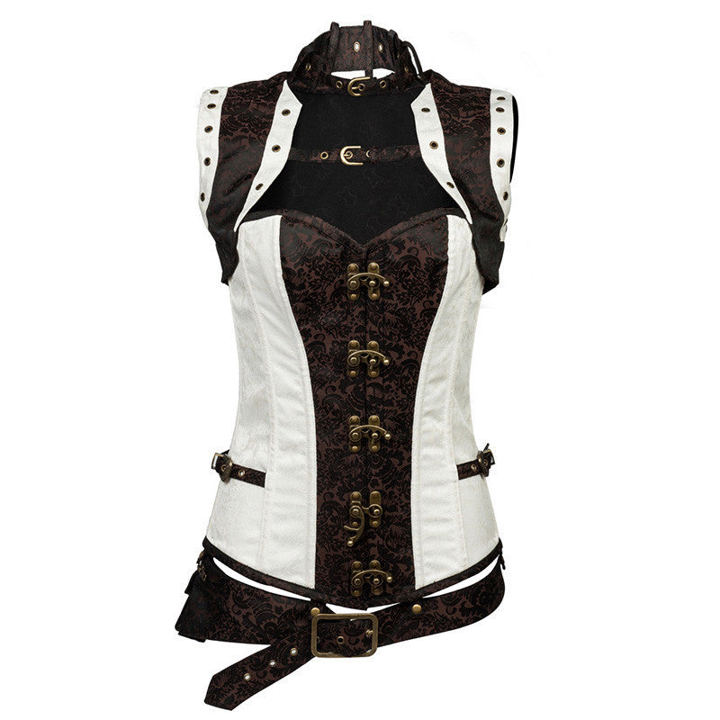 Vintage Renaissance Steampunk Overbust White Corsets with Shrug