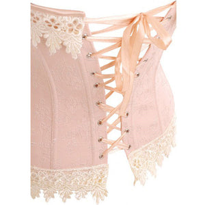 White Floral Lace Trim Pink Overbust Satin Corset