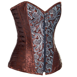 Women's Fashion Brocade Steampunk Front Zip Up Corset