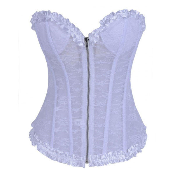 Women's Lace Trim Underwire Cups Overbust Wedding Corset
