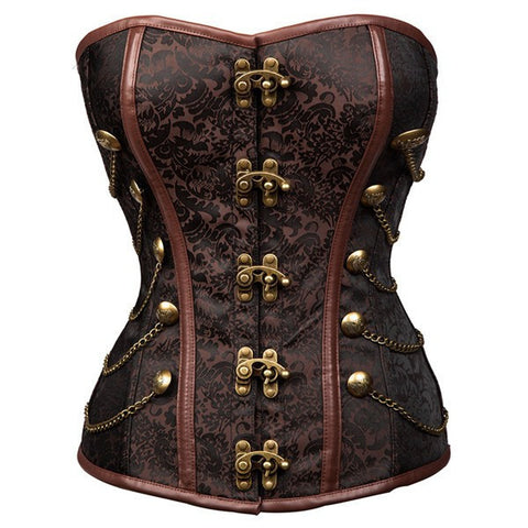 Women's Strapless Steampunk Overbust Brocade Corset with Chains