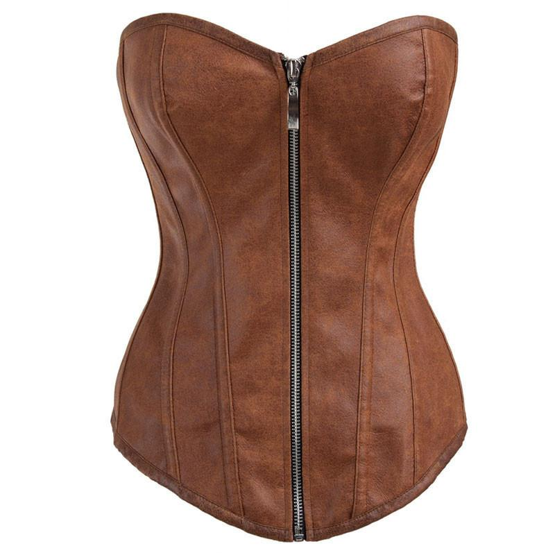 Zipper Front Faux Leather Overbust Corset Bustier Tops