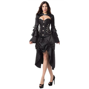 Punk Rave Black Overbust Corset Steampunk Costume with Skirt Outfits