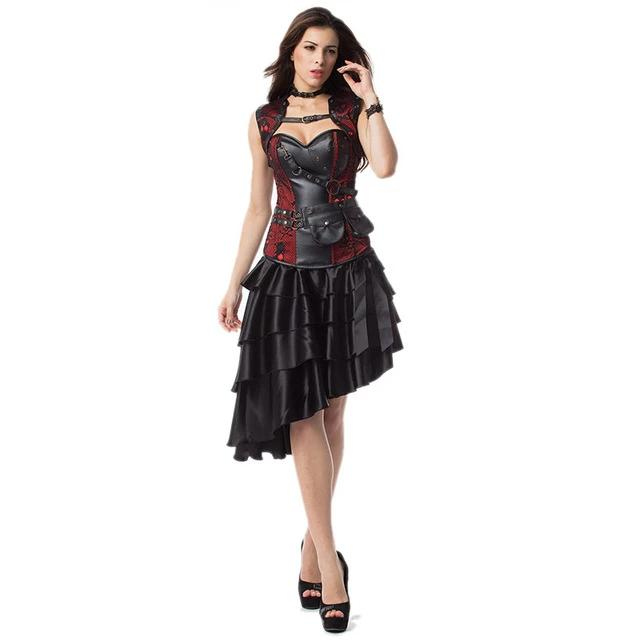 Plus Size Corsets Gothic Victorian Steampunk Costumes Outfits with Skirt