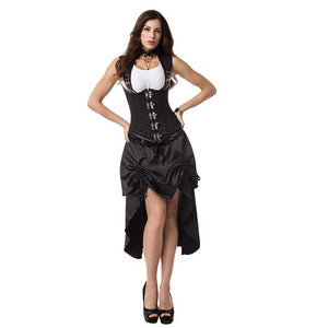 Vintage Halloween Steampunk Costumes Victorian Gothic Clothing with Skirt