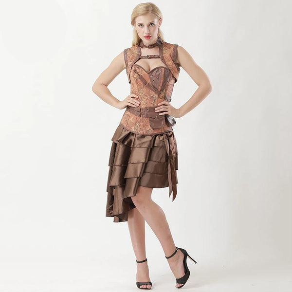 Women Vintage Brown Steampunk Jacket Corset Outfits with Skirt