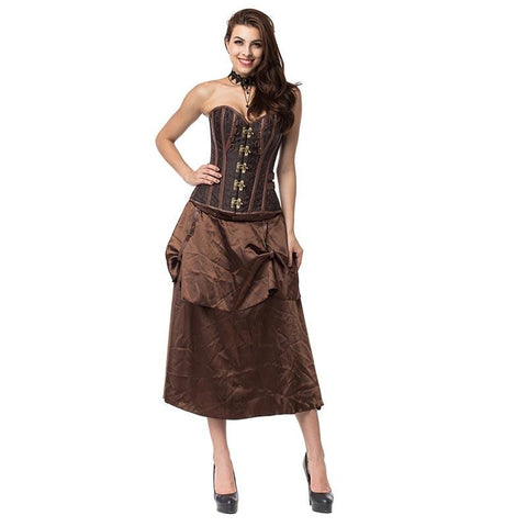 Brown Overbust Corset Steampunk Costume Clothing with Skirt