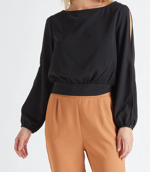 Women's Split Sleeve Tie Crop Top