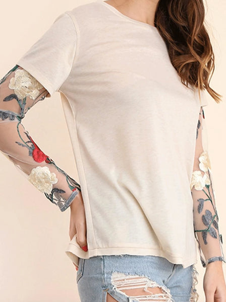 Embroidered Sleeve Tee
