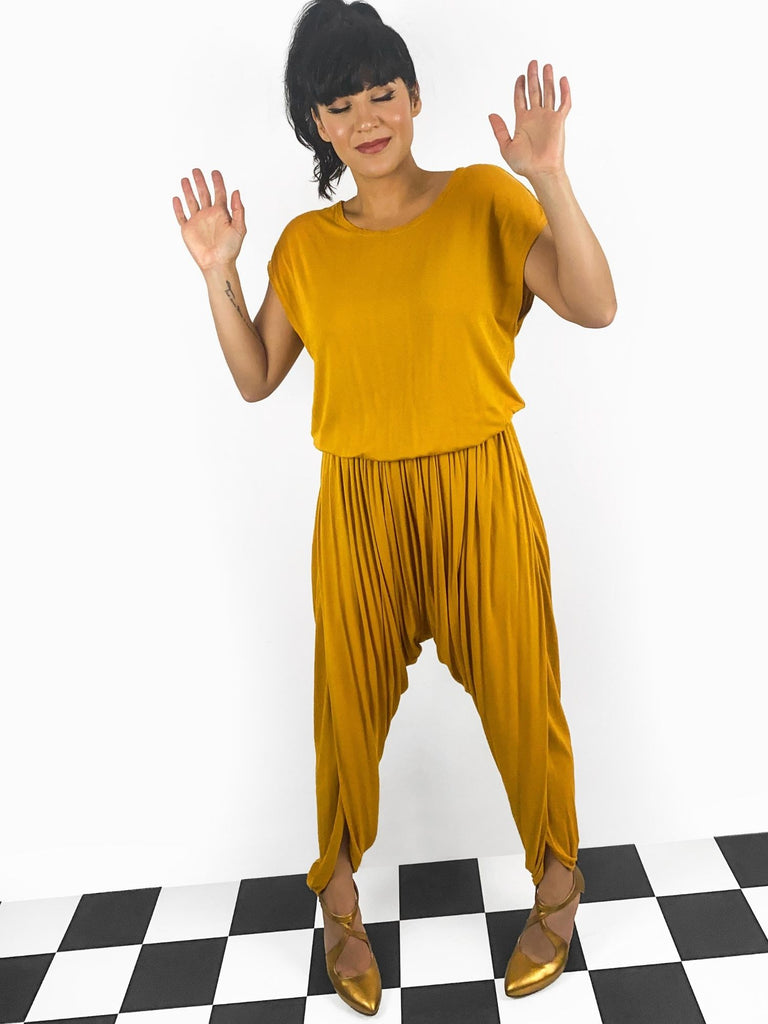 Sanaz Designs Ava jumpsuit in mustard