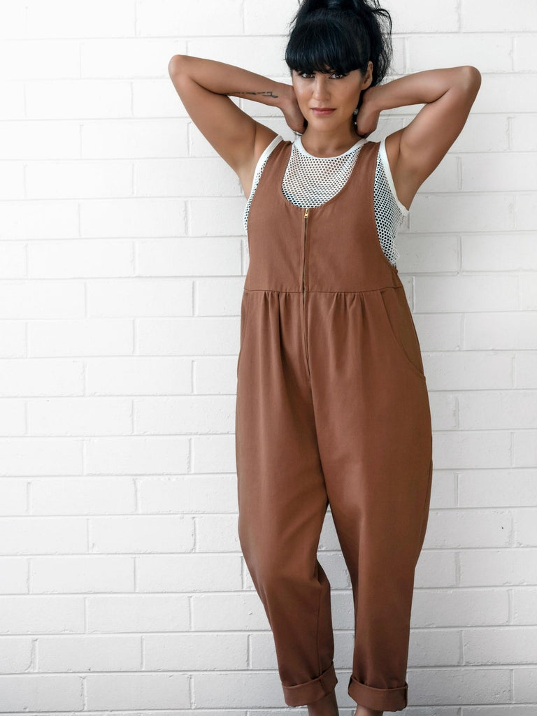 Jessie Overalls in Tan