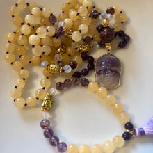 Yellow Topaz, Super 7, Amethyst, Buddha Mala Set
