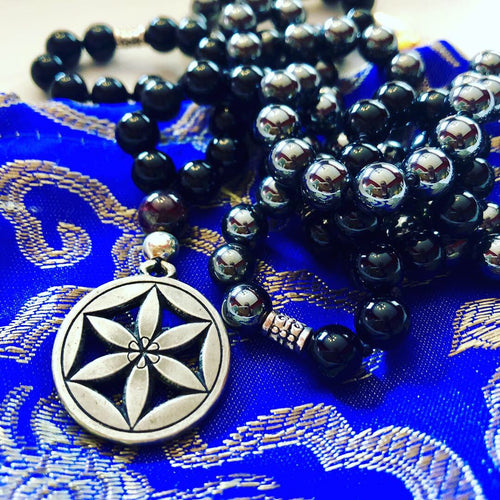 Black Onyx and Hematite Mala Flower of Life Mala