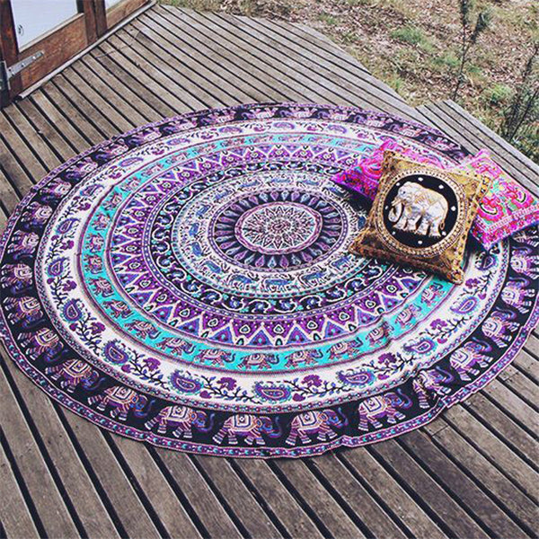 Indian Mandala Round Tapestry