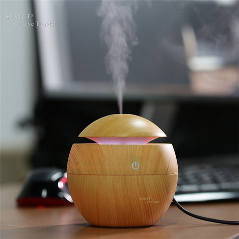 Wood grain small Aromatherapy Essential Oil Diffuser LED Lights