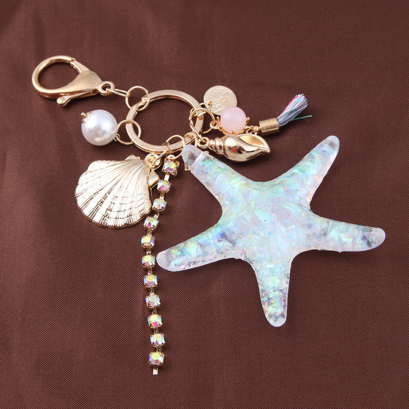 Starfish Shell Rhinestone Key Ring