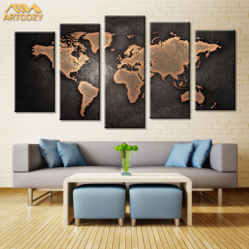 5 panel modern world map canvas painting peaceandhome 5 panel modern world map canvas painting gumiabroncs Images