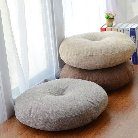 Soft Canvas Round Floor Pillow