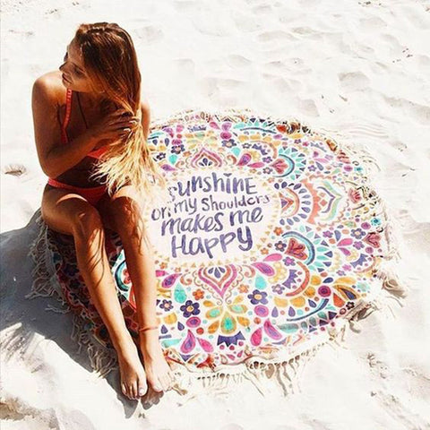 FUN Beach Throw Round Tapestry