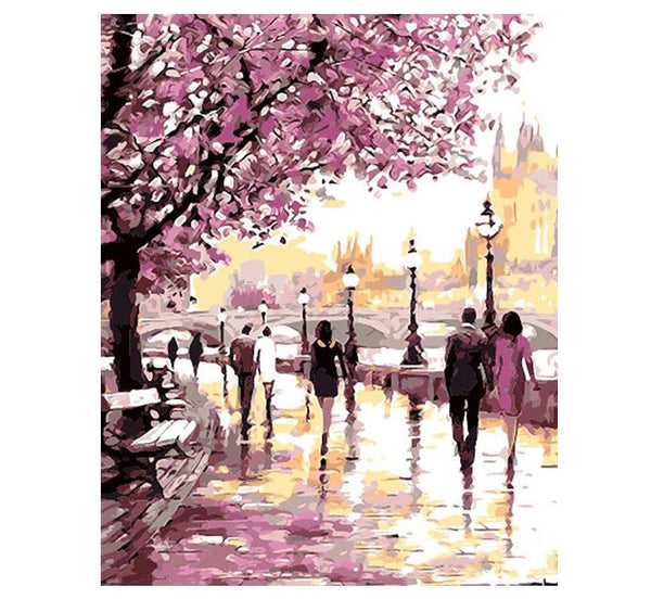 Cherry Blossoms Road Paint by Number kit