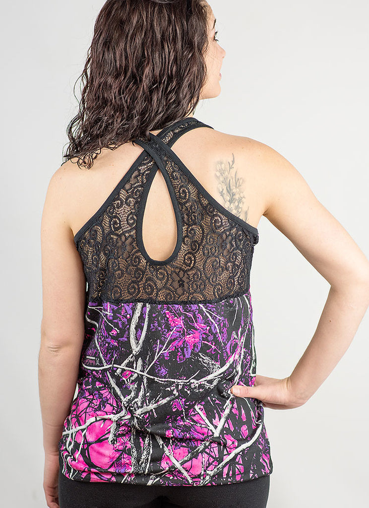 Muddy Girl Cross Lace Tank Top