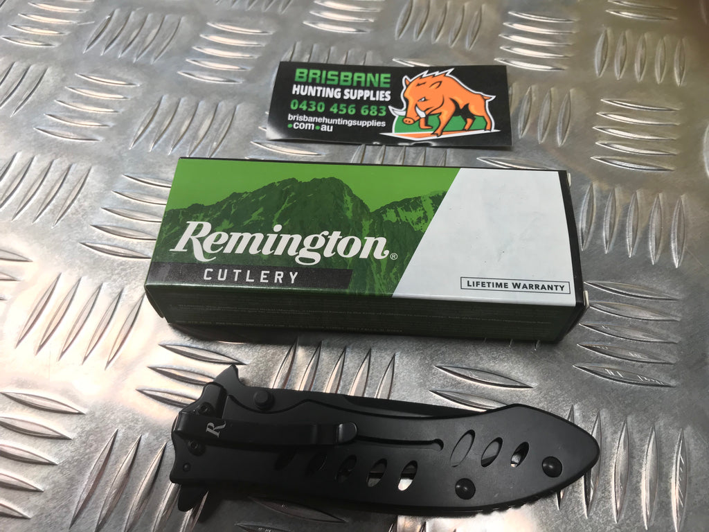 "Remington F.A.S.T. Series R20003 Flipper 3.2"" Black Drop Point Combo Blade and Stainless Steel Handles"