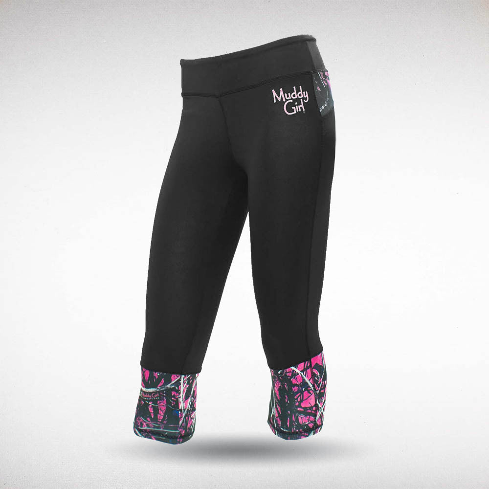 Muddy Girl Camo | Women's Pink Camo Yoga Capri Pants Black
