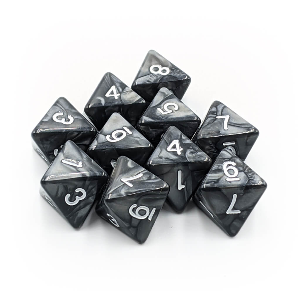 10d8 Dice Set - Pearl