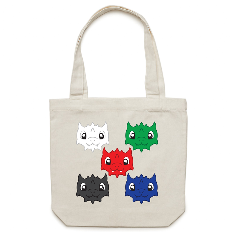 Canvas Tote Bag - Cute Chromatic Dragons - Imaginary Adventures