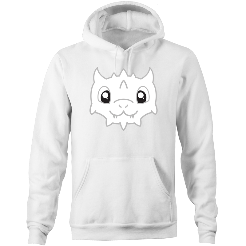 Cute White Dragon - Hoodie with Pockets - Imaginary Adventures