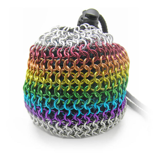 Chain-mail Rainbow Dice Bag - Large - Caz's Creations - Imaginary Adventures
