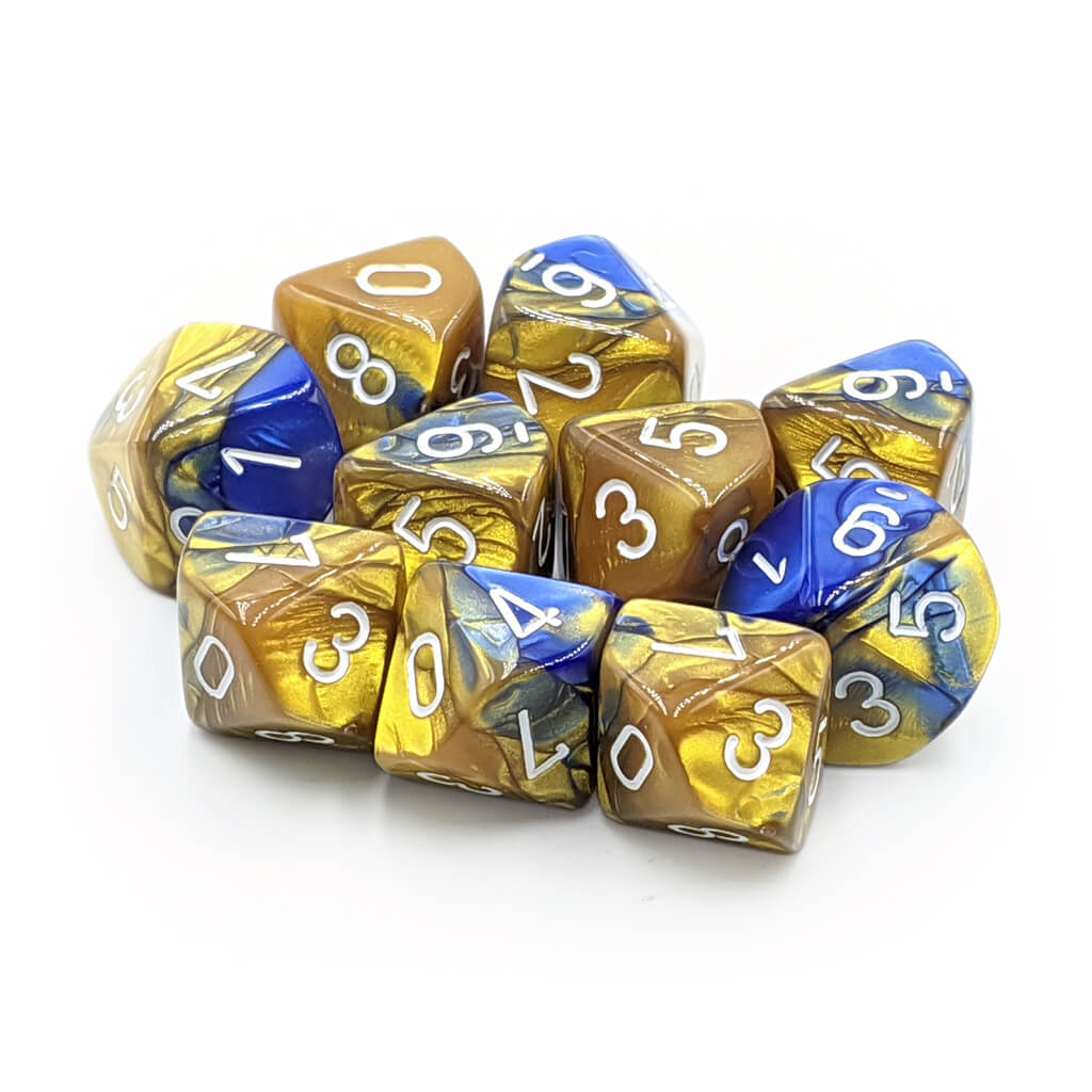Chessex 26222 Gemini Blue-Gold with White d10 Dice Set