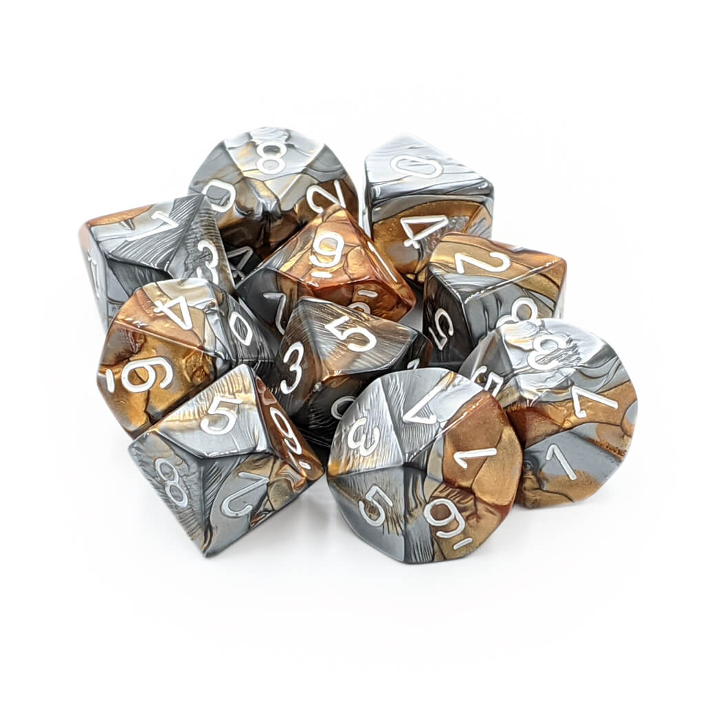 Chessex 26224 Gemini Copper-Steel with White d10 Dice Set