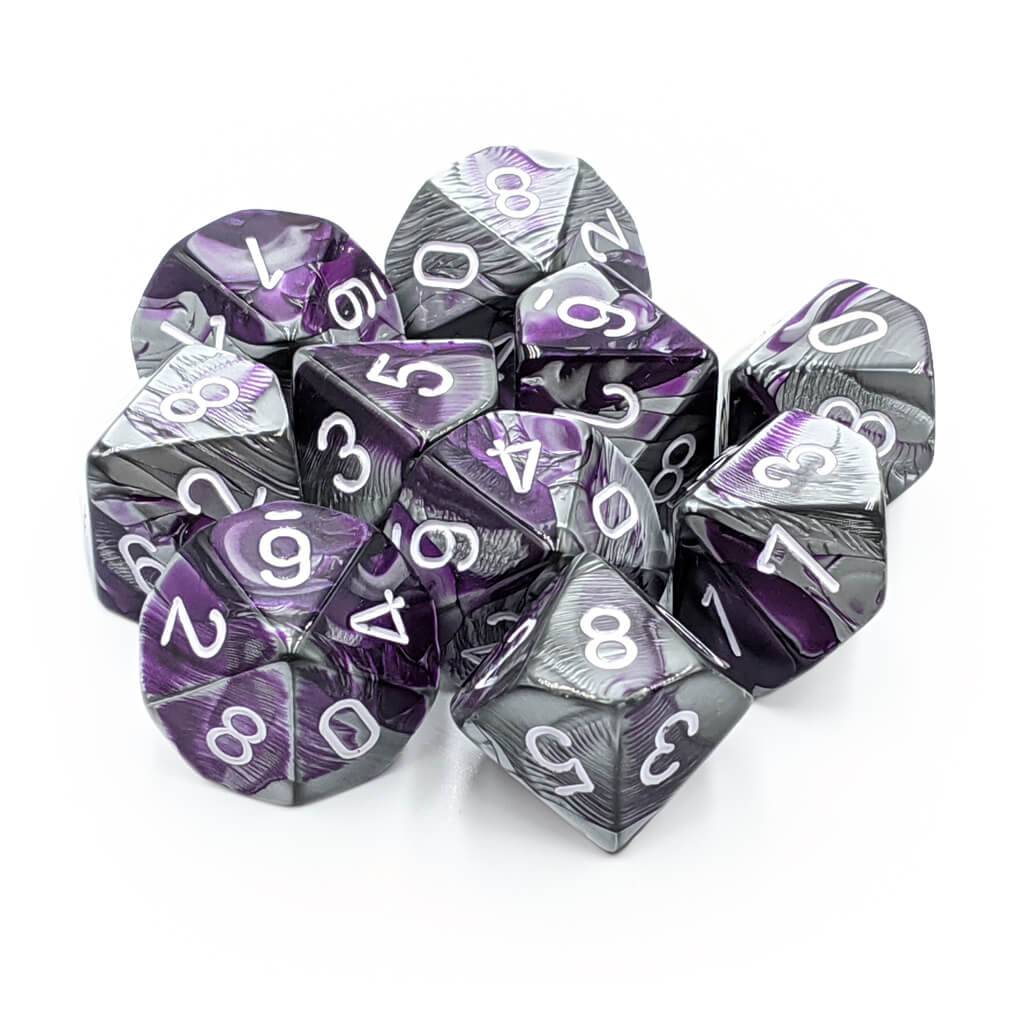 Chessex 26232 Gemini Purple-Steel with White d10 Dice Set