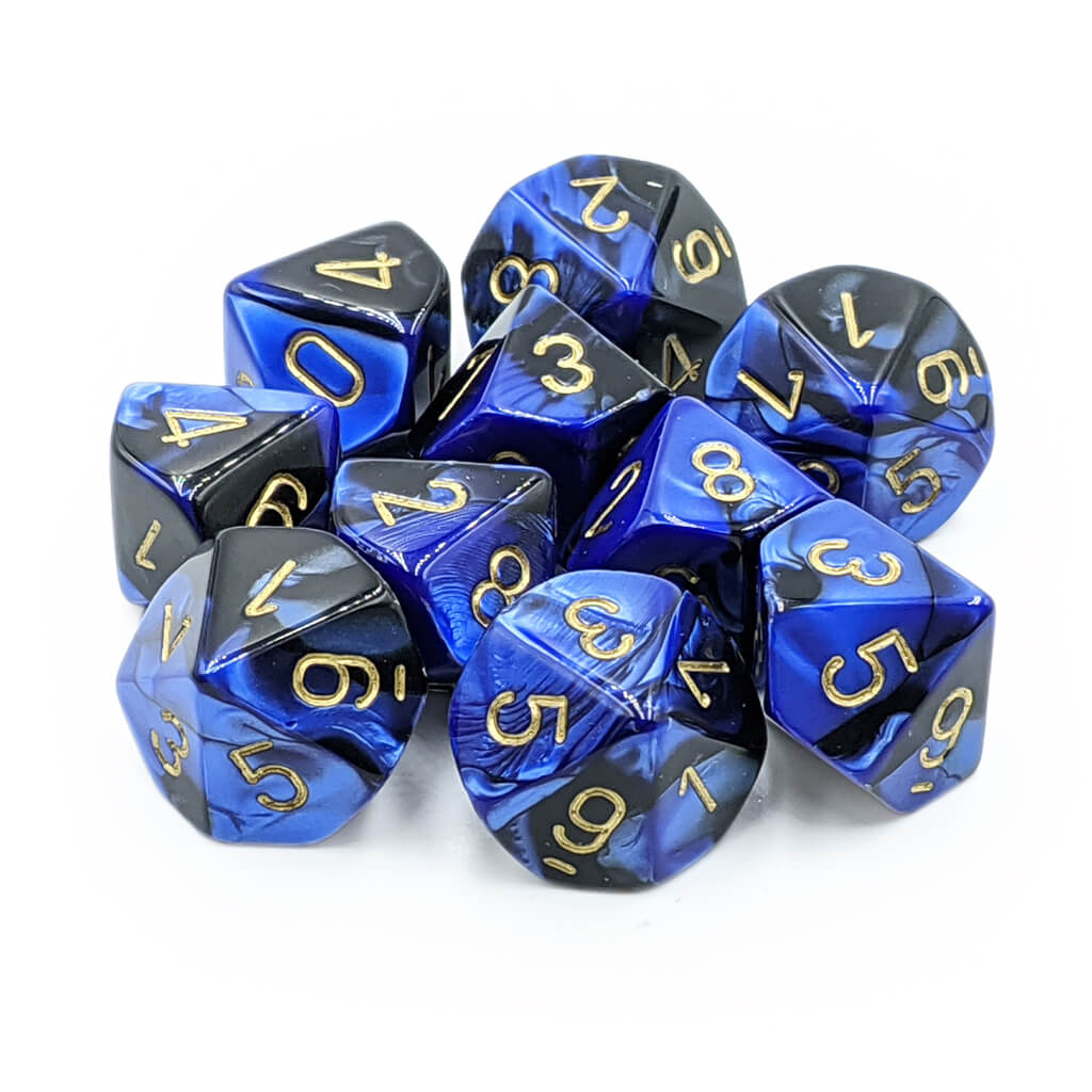 Chessex 26235 Gemini Black-Blue with Gold d10 Dice Set