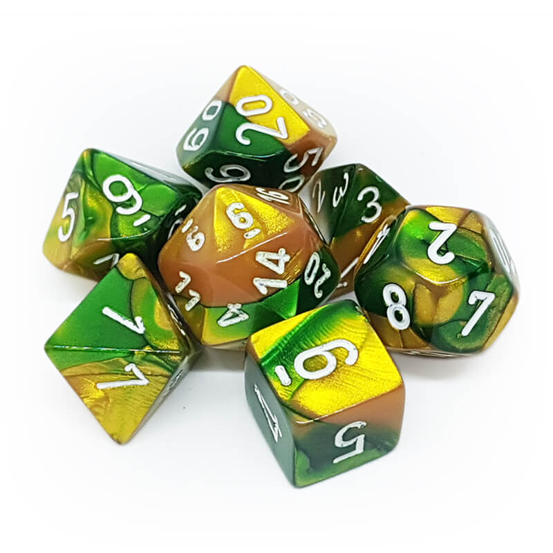 Chessex 26425 Gemini Gold-Green/White Dice Set - Imaginary Adventures