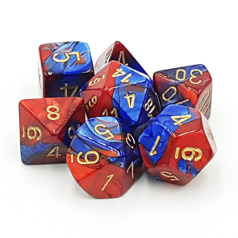 Chessex 26429 Gemini Blue-Red/Gold Dice Set - Imaginary Adventures