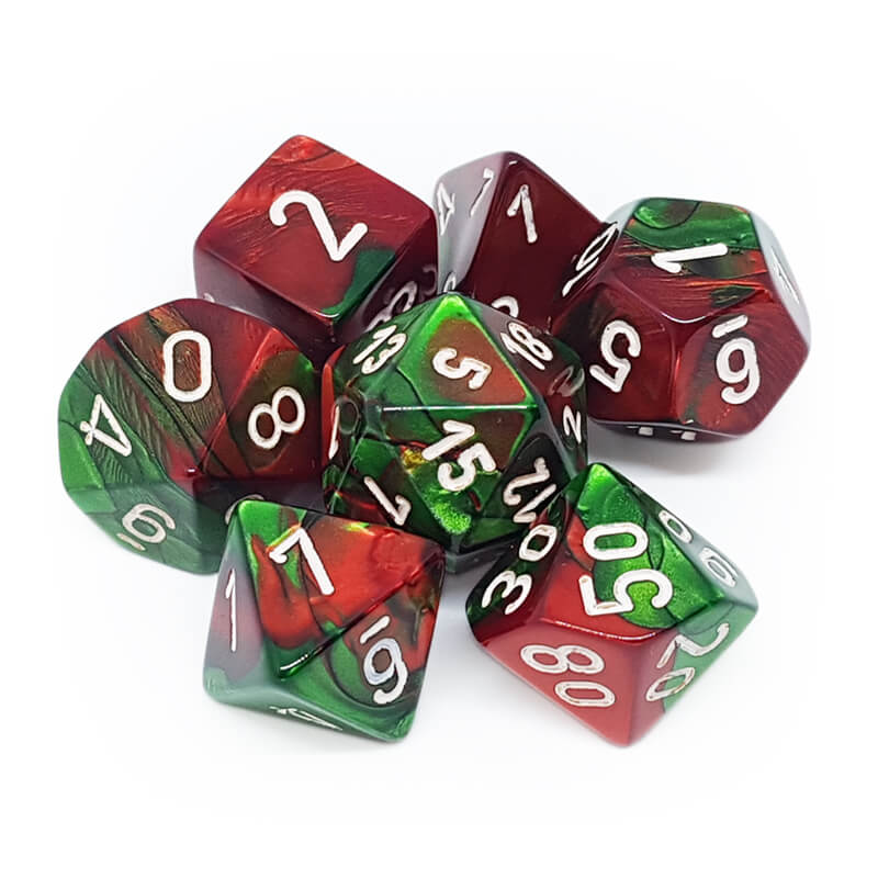 Chessex 26431 Gemini Green-Red/White Dice Set - Imaginary Adventures