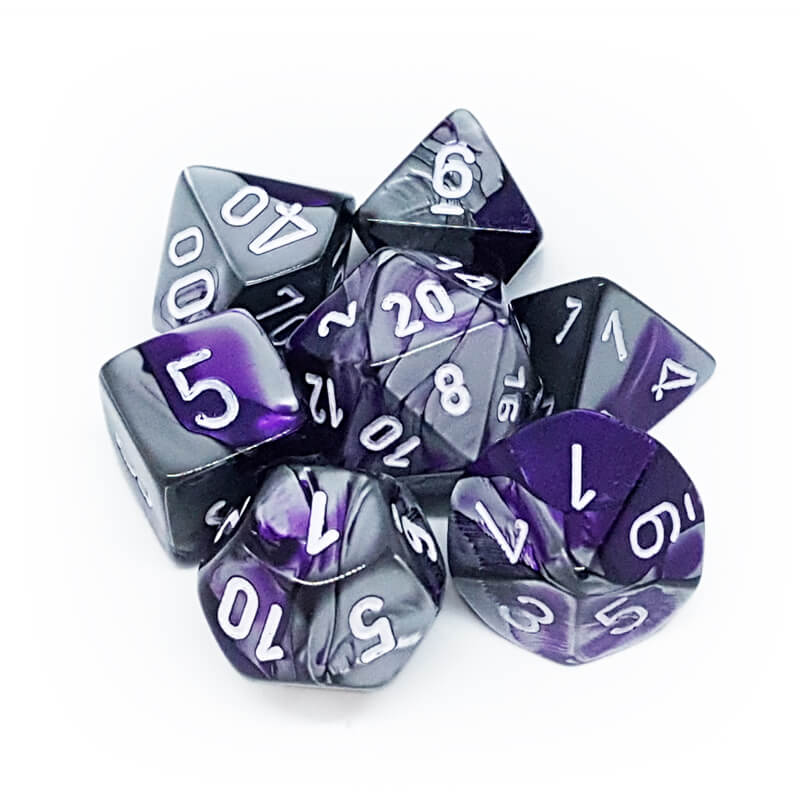 7 Dice Set - Chessex 26432 Gemini Purple-Steel/White - Imaginary Adventures