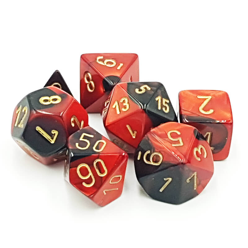 7 Dice Set - Chessex 26433 Gemini Black-Red/Gold - Imaginary Adventures