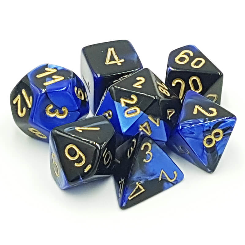 7 Dice Set - Chessex 26435 Gemini Black-Blue/Gold - Imaginary Adventures